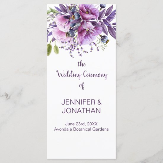 Violet Purple Lavender Flowers Wedding Program