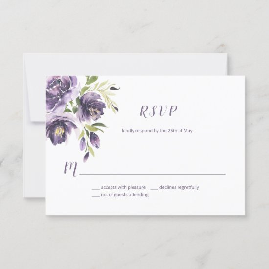 Violet Purple Lavender Green Watercolor Floral  | RSVP Card
