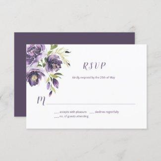 Violet Purple Lavender Green Watercolor Floral  | RSVP Card