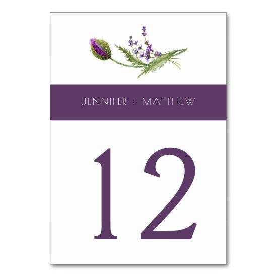Violet Purple Lavender Wildflowers Table | Table Number