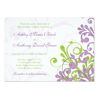 "Violet Purple Lime Green Floral Wedding Invitation 5"" X 7"" Invitation Card"