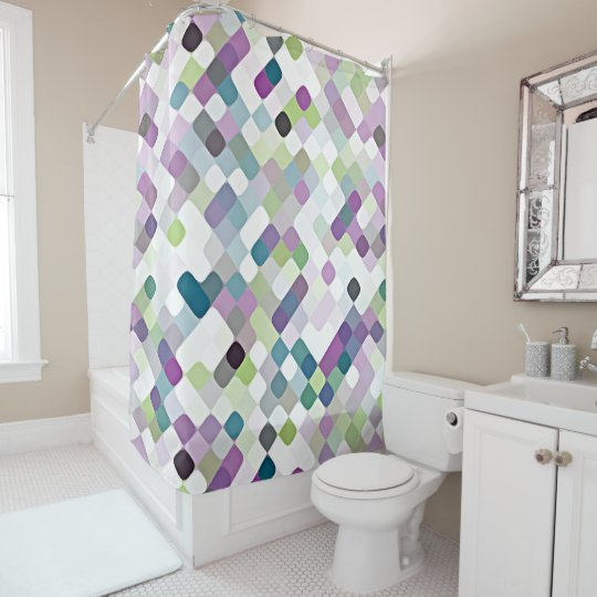 Attrayant Violet Purple Lime Green Retro Round Squares Art Shower Curtain