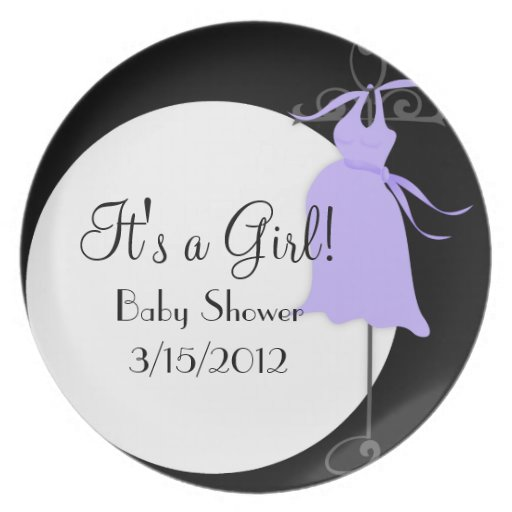 Violet/Purple Maternity Dress Baby Shower Plate 2