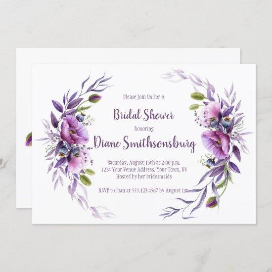 Violet Purple Mauve Floral Frame Bridal Shower Invitation