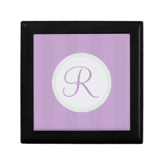 Violet Purple Monogram Thin Chevron Pattern Jewelry Box