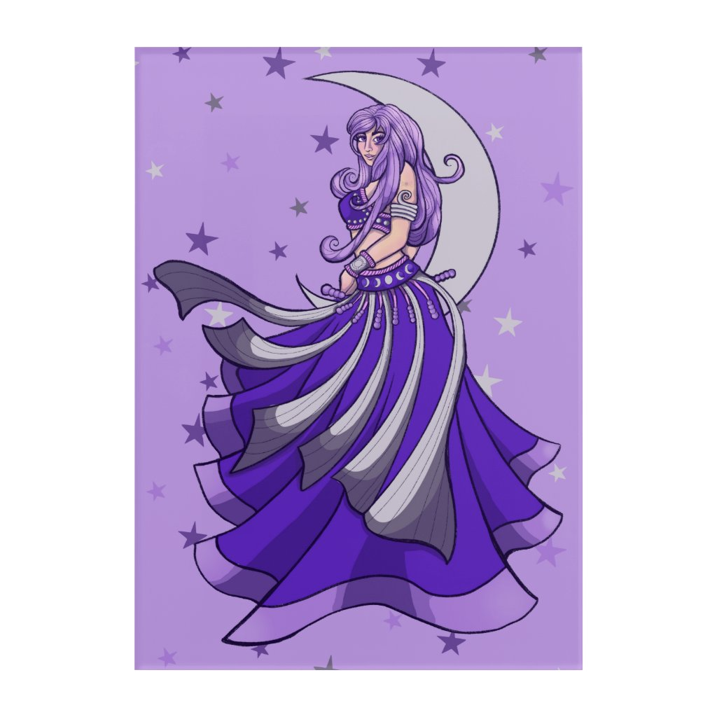 Violet Purple Moon Goddess Belly Dancer MoonChild Acrylic Print