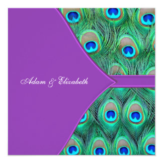 "Violet Purple Peacock Wedding Invitations 5.25"" Square Invitation Card"