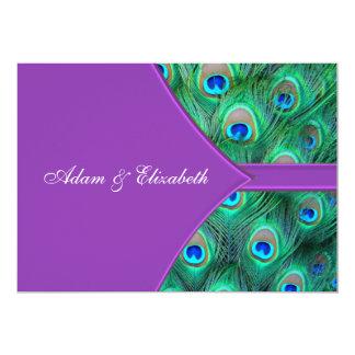 "Violet Purple Peacock Wedding Invitations 5"" X 7"" Invitation Card"
