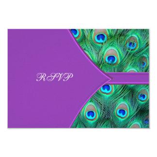 Violet Purple Peacock Wedding RSVP 3.5x5 Paper Invitation Card