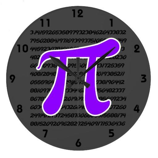 Violet Purple Pi Symbol Wall Clocks