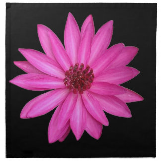 Violet Purple Pink Lotus Flower Black Napkins