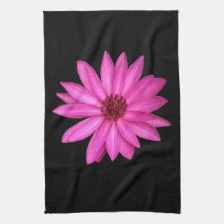 Violet Purple Pink Lotus Flower Black Towel