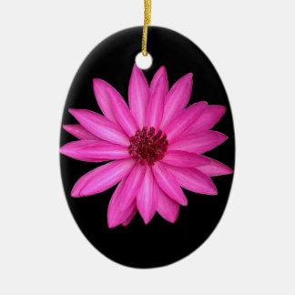 Violet Purple Pink Lotus Flower Oval Ornament