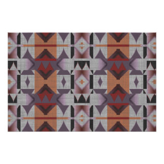 Violet Purple Pink Orange Red Ethnic Tribal Mosaic Poster