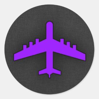 Violet Purple Plane; Pilot Classic Round Sticker