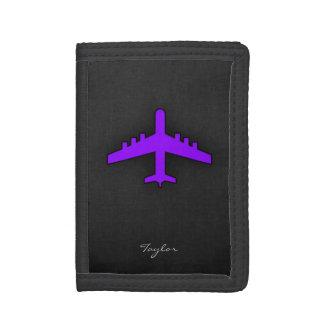 Violet Purple Plane; Pilot Trifold Wallets