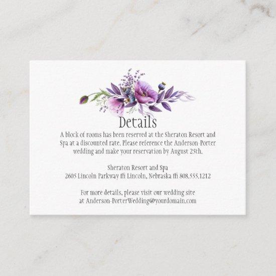 Violet Purple Plum Floral Detail Enclosure Cards