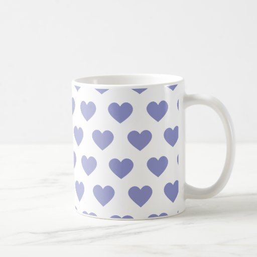 Violet Purple Polka Dot Hearts Coffee Mug