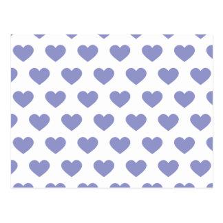Violet Purple Polka Dot Hearts Postcard