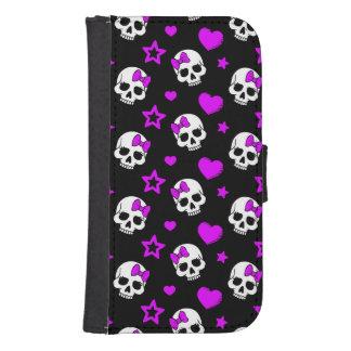 Violet Purple Punk Rock Skulls Galaxy S4 Wallet