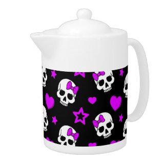 Violet Purple Punk Rock Skulls Teapot