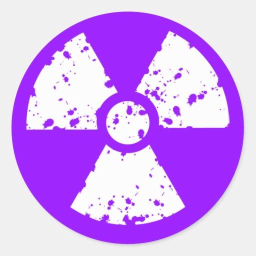 Violet Purple Radioactive Symbol Classic Round Sticker ...