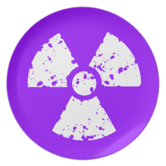 Violet Purple Radioactive Symbol Party Plate