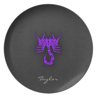 Violet Purple Scorpio Melamine Plate