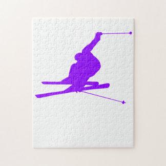 Violet Purple Snow Ski Jigsaw Puzzles
