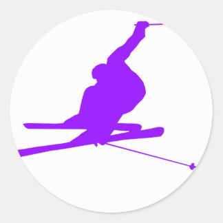 Violet Purple Snow Ski Classic Round Sticker