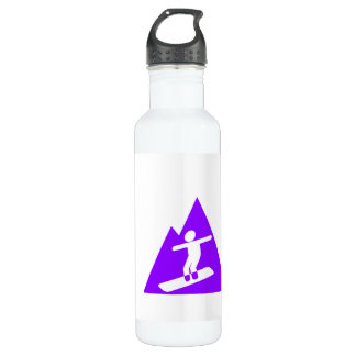 Violet Purple Snowboarder Stainless Steel Water Bottle
