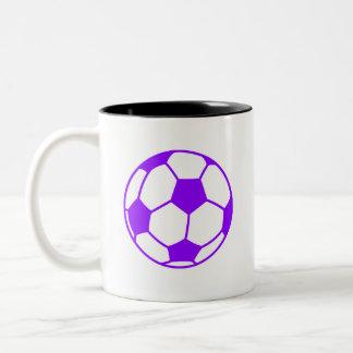 Violet Purple Soccer Ball Two-Tone Coffee Mug