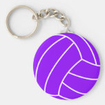 Violet Purple Volleyball Basic Round Button Keychain