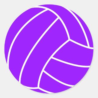 Violet Purple Volleyball Classic Round Sticker