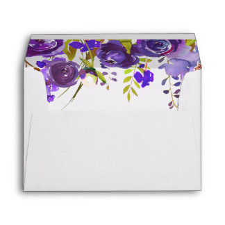 Violet Purple Watercolor Floral for 5x7 card Envelope