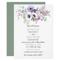 Violet Purple White Floral Wedding Invitations