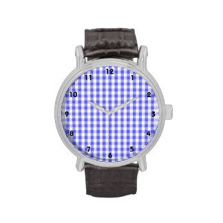 Violet Purple & White Gingham Pattern Watches