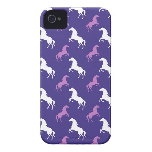 Violet Purple & White Horse; Equestrian iPhone 4 Covers