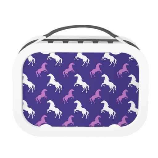 Violet Purple & White Horse; Equestrian Lunch Boxes