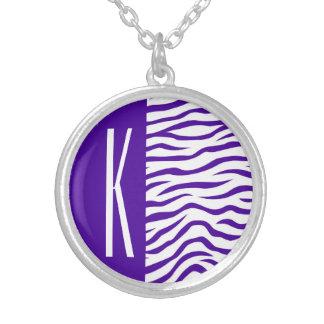 Violet Purple & White Zebra Stripes Animal Print Custom Jewelry