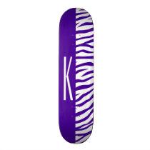 Violet Purple & White Zebra Stripes Animal Print Skateboard
