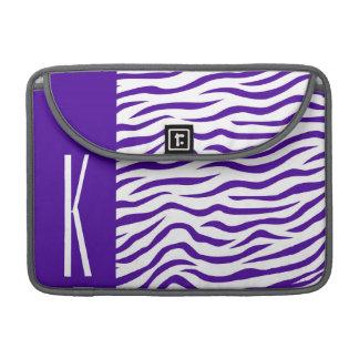 Violet Purple & White Zebra Stripes Animal Print Sleeves For MacBook Pro