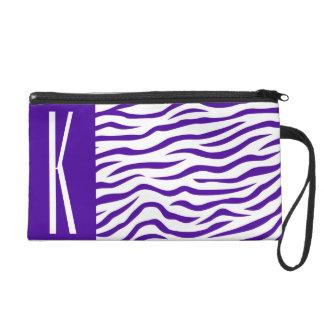 Violet Purple & White Zebra Stripes Animal Print Wristlet Purse