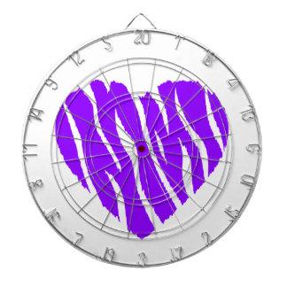 Violet Purple Wild Heart Dartboard With Darts