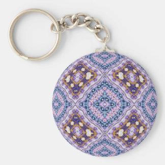 Violet Quilt Basic Round Button Keychain