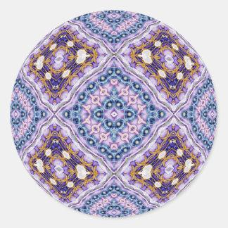 Violet Quilt Round Stickers