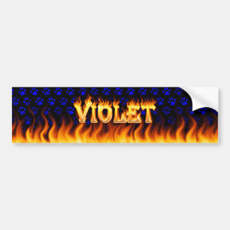 Violet real fire and flames bumper sticker design.