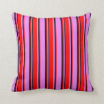 [ Thumbnail: Violet, Red & Black Colored Pattern Throw Pillow ]