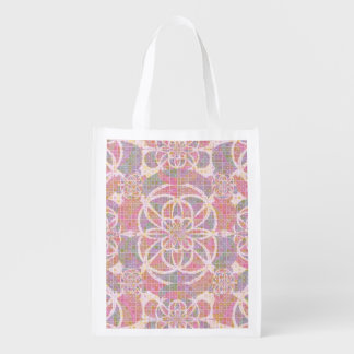 Violet red geometry grocery bag