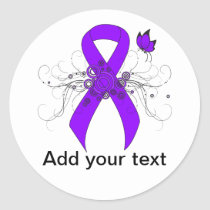 Violet Ribbon Butterfly Classic Round Sticker